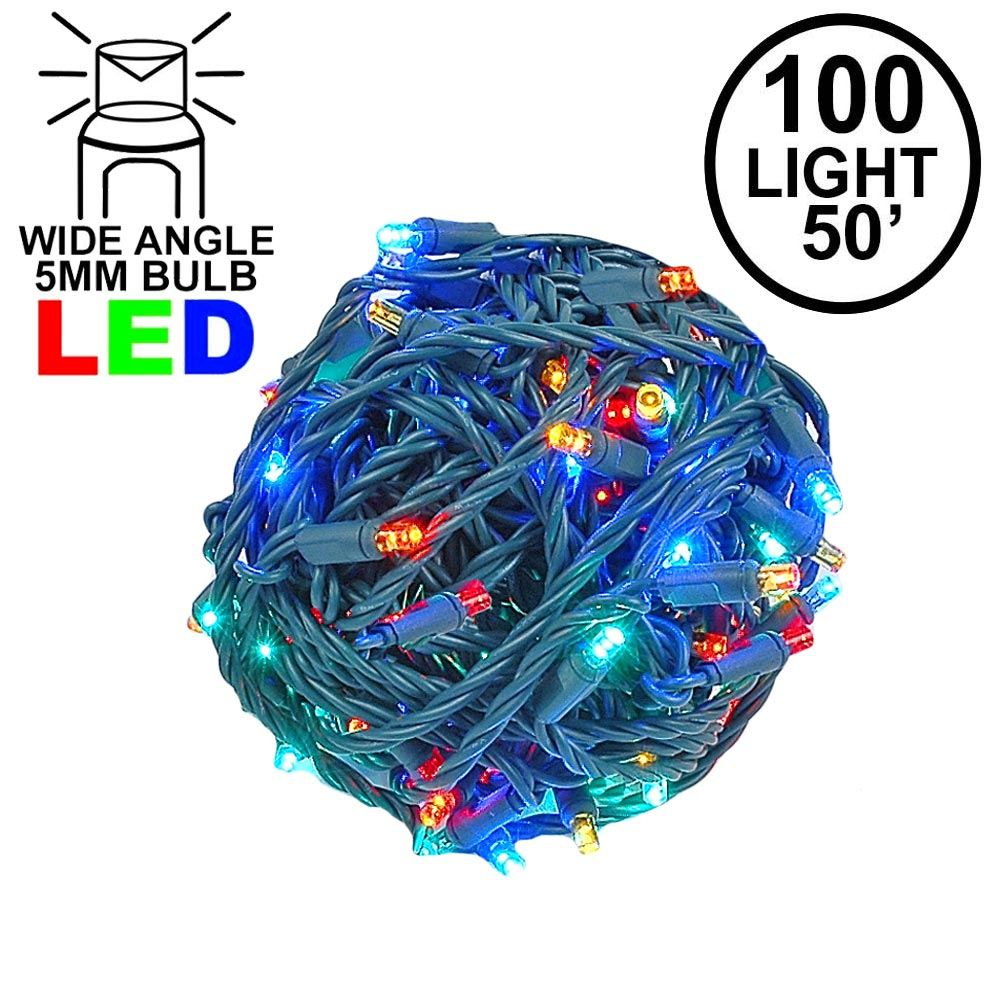 Picture of Commercial Grade Wide Angle 100 LED Multi 50' Long on Green Wire