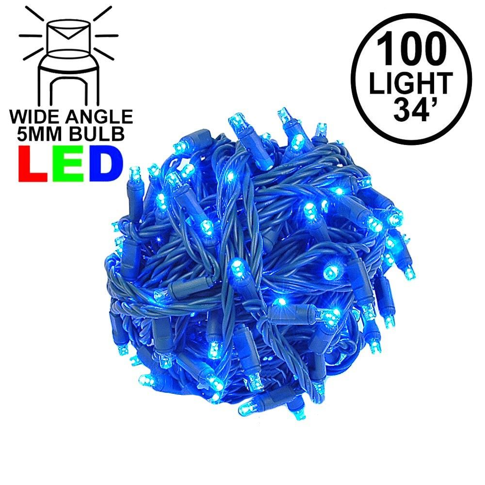 Picture of Commercial Grade Wide Angle 100 LED Blue 34' Long on Green Wire