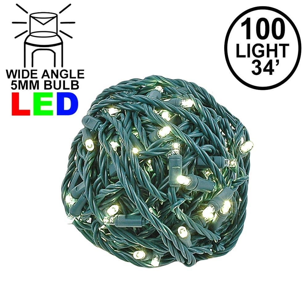 Picture of Commercial Grade Wide Angle 100 LED Warm White 34' Long on Green Wire