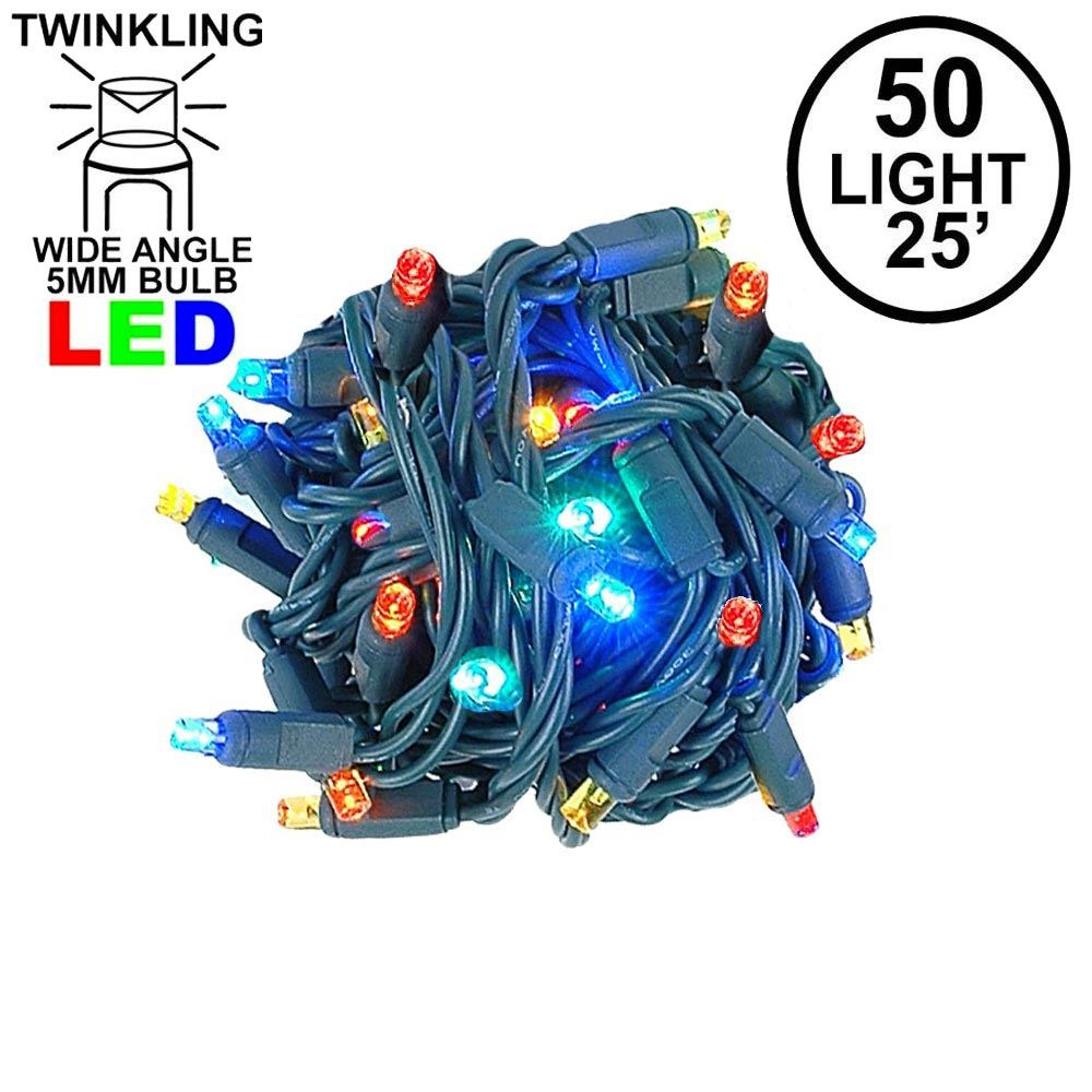 Picture of Twinkle LED Christmas Lights 50 LED Multi 25' Long Green Wire
