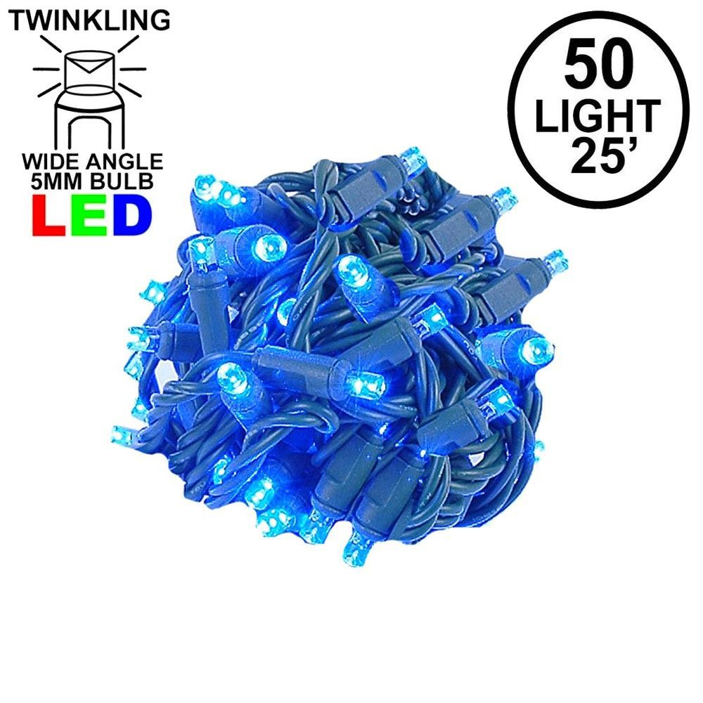 Picture of Twinkle LED Christmas Lights 50 LED Blue 25' Long Green Wire