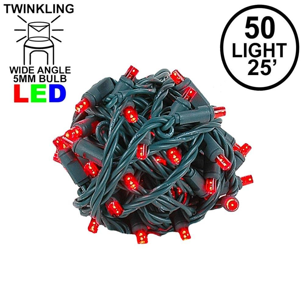 Picture of Twinkle LED Christmas Lights 50 LED Red 25' Long Green Wire