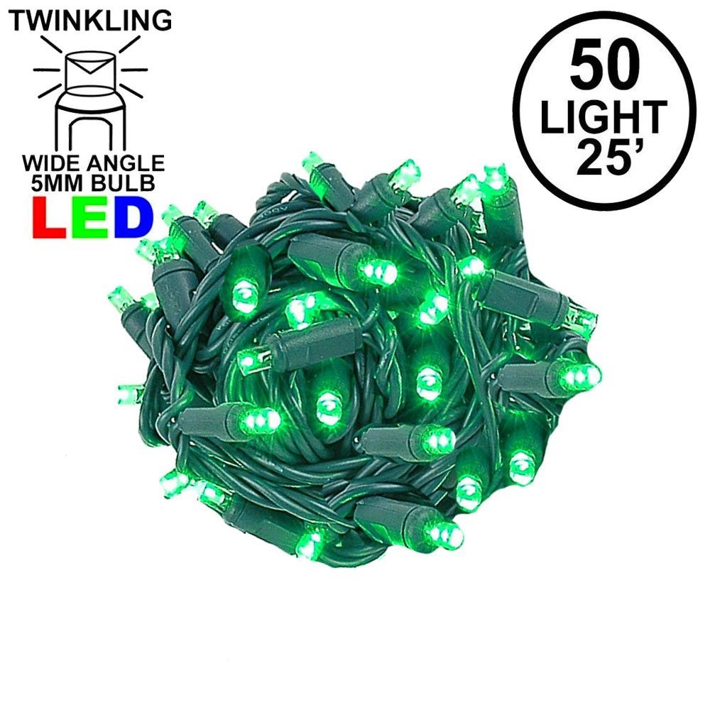 Picture of Twinkle LED Christmas Lights 50 LED Green 25' Long Green Wire