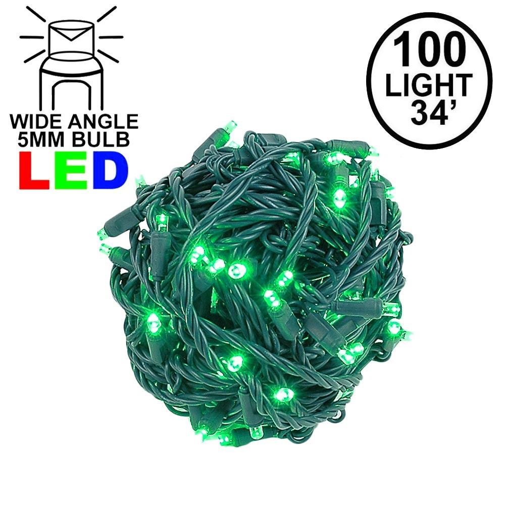 """Picture of Coaxial 100 LED Green 4"""" Spacing Green Wire"""