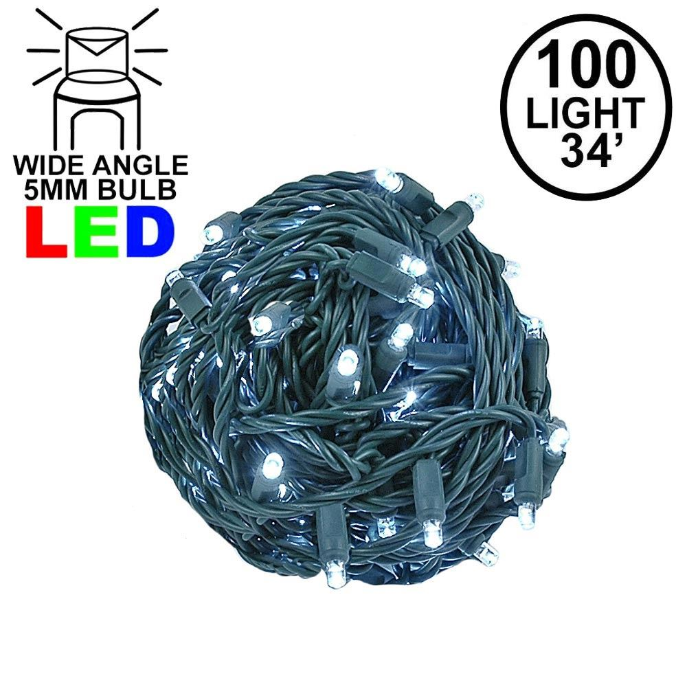 """Picture of Coaxial 100 LED Pure White 4"""" Spacing Green Wire"""