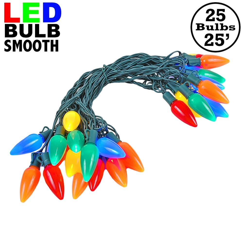 Picture of 25 Multi-Colored Ceramic LED C9 Pre-Lamped String Lights Green Wire